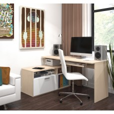 Modula L-shaped Workstation in Northern Maple & White