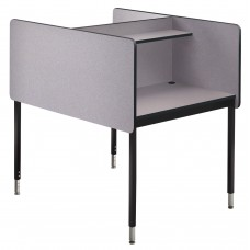 "24-29"" Adj Ht Double Modular Carrel Starter - Grey Nebula"