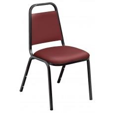 Pleasant Burgundy Standard Vinyl Upholstered Padded Stack Chairs