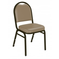 French Beige  Dome Vinyl Upholstered Padded Stack Chairs Mocha Frame
