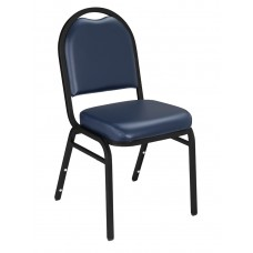 Midnight Blue Dome Vinyl Upholstered Padded Stack Chairs Black Sandtex Frame