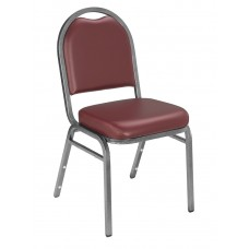 Pleasant Burgundy Dome Vinyl Upholstered Padded Stack Chairs Silvervein Frame