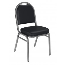 Panther Black Dome Vinyl Upholstered Padded Stack Chairs Silvervein Frame