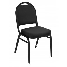 Ebony Black Dome Fabric  Upholstered Padded Pattern Stack Chairs Black Sandtex Frame