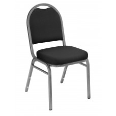 Ebony Black Dome Fabric  Upholstered Padded Pattern Stack Chairs Silvervein Frame