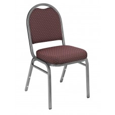 Diamond Burgundy Dome Fabric  Upholstered Padded Pattern Stack Chairs Silvervein Frame