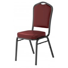 Pleasant Burgundy  Silhouette Fabric Padded Upholstered Stack Chairs Silvervein Frame