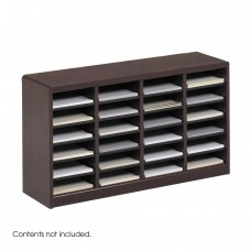 E-Z Stor® Wood Literature Organizer, 24 Compartments - Mahogany