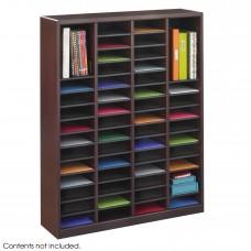 E-Z Stor® Wood Literature Organizer, 60 Compartments - Mahogany