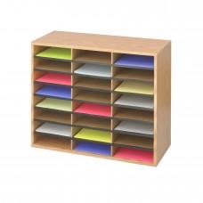 Wood/Corrugated Literature Organizer, 24 - Medium Oak