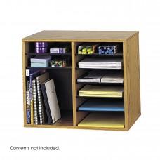 Wood Adjustable Literature Organizer - 12 Compartment - Oak