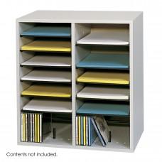 Wood Adjustable Literature Organizer, 16 Compartment - Gray