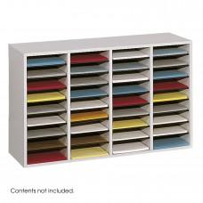 Wood Adjustable Literature Organizer, 36 Compartment - Gray