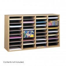 Wood Adjustable Literature Organizer, 36 Compartment - Oak