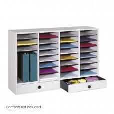 Wood Adjustable Literature Organizer, 32 Compartment w. Drawer - Gray