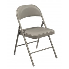 Grey Vinyl Upholstered Commercialine Folding Chairs Carton of 4