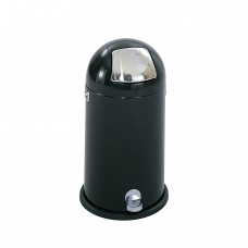 Dome Step-On Receptacle, 9-Gallon - Stainless Steel;Black
