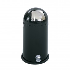 Dome Step-On Receptacle, 12-Gallon - Black