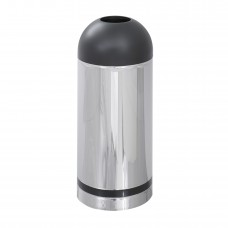 Reflections By Safco® Open Top Dome Receptacle - Chrome/Black