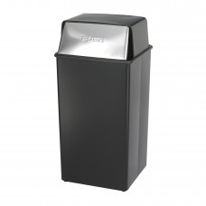 Reflections By Safco® Push Top Receptacle, 36-Gallon - Black/Steel