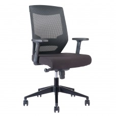 Alpha Task Chair, black mesh, waterfall seat, lumbar support, soft casters