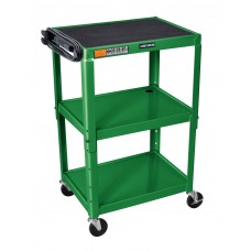 Luxor Adjustable Height Green Metal A/V Cart