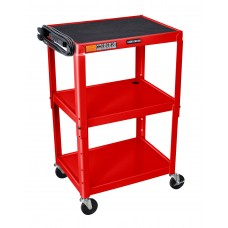Luxor Adjustable Height Red Metal A/V Cart