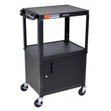 "Luxor Black 42"" Adj Height Cart w/ Cabinet"