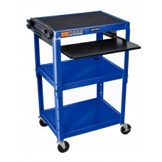 Luxor Adjustable Height Blue Metal A/V Cart w/ Pullout Keyboard Tray