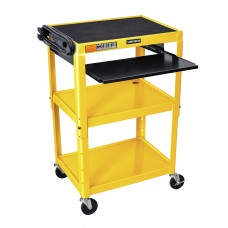 Luxor Adjustable Height Yellow Metal A/V Cart w/ Pullout Keyboard Tray
