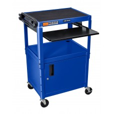 Luxor Adjustable Height Blue Metal A/V Cart w/ Pullout Keyboard Tray and Cabinet