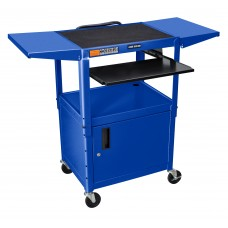 Luxor Adjustable Height Blue Metal A/V Cart w/ Pullout Keyboard Tray, Cabinet & 2 Drop Leaf Shelves