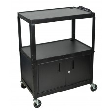 Luxor Extra Wide Steel Adjustable Height A/V Cart W/ Cabinet