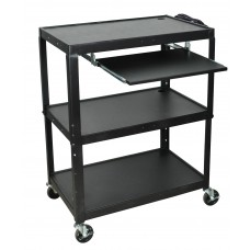 Luxor Extra Wide Steel Adjustable Height A/V Cart W/Pullout Keyboard Shelf