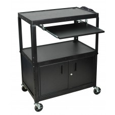 Luxor Extra Wide Adjustable Height A/V Cart W/ Keyboard Shelf & Cabinet