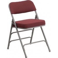 HERCULES Series Premium Curved Triple Braced & Double Hinged Burgundy Fabric Metal Folding Chair [AW-MC320AF-BG-GG]