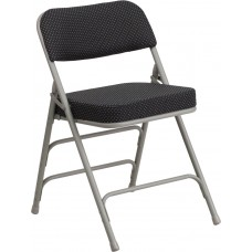 HERCULES Series Premium Curved Triple Braced & Double Hinged Black Pin-Dot Fabric Metal Folding Chair [AW-MC320AF-BK-GG]