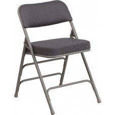 HERCULES Series Premium Curved Triple Braced & Double Hinged Gray Fabric Metal Folding Chair [AW-MC320AF-GRY-GG]