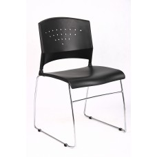 Black Stack Chair With Chrome Frame, 1Pc Pack