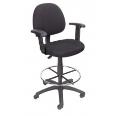 Drafting Stool (B315-BK) W/Footring And Adjustable Arms