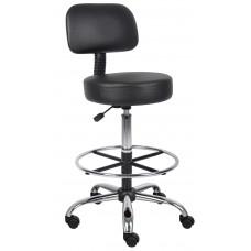 Caressoft Medical/Drafting Stool W/ Back Cushion