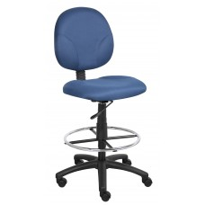 Blue Fabric Drafting Stools W/Footring