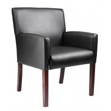 Reception Box Arm Chair W/Mahogany Finish