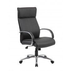 High Back Executive Chair / Aluminum Finish / Black Upholstery