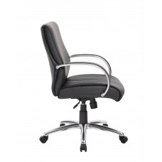Mid Back Executive Chair / Aluminum Finish / Black Upholstery / Knee Tilt