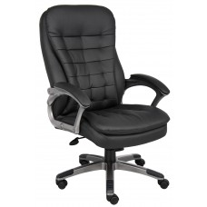 High Back Executive Chair With Pewter Finished Base/Arms