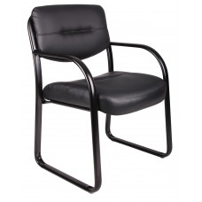 Leather Sled Base Side Chair W/ Arms