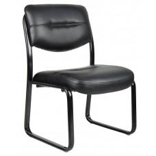 Leather Sled Base Side Chair