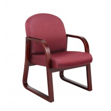 Mahogany Frame Side Chair In Burgundy Fabric