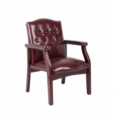 Traditional Oxblood Vinyl Guest Chair W/ Mahogany Finish